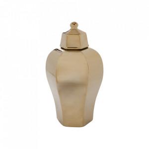 Recipient cu capac auriu din ceramica 18x35 cm Veronique Vical Home