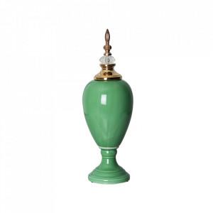 Recipient cu capac verde/auriu din ceramica 15x45,5 cm Rassy Vical Home