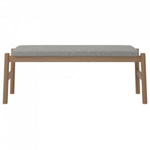 Bancheta gri/maro din textil si lemn 114 cm Float Bolia