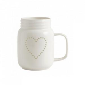Cana alba din ceramica 7x13 cm Heart Nordal