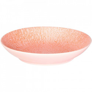 Farfurie adanca roz din ceramica pentru paste 23 cm Cubical Palmer