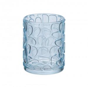 Suport albastru din sticla pentru periuta dinti 7,5x10 cm Vetro Wenko
