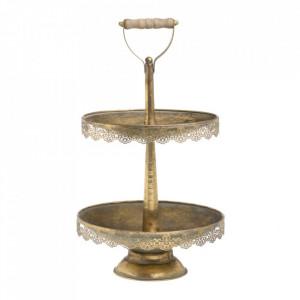 Platou decorativ cu 2 niveluri auriu din metal 28 cm Mivas Ixia