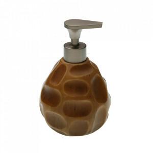 Dispenser sapun lichid maro din ceramica 11x17 cm Irregular Versa Home
