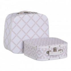 Set 2 cutii tip valiza albe/bej din MDF si PVC Mirad Ixia