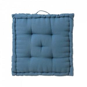 Perna patrata albastra din poliester si bumbac pentru sezut 45x45 cm Loving Colours Unimasa