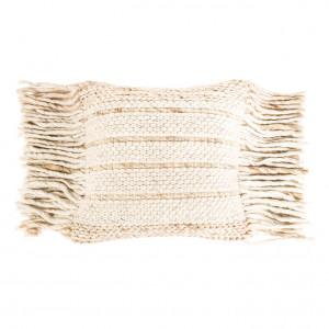 Perna crem din lana si bumbac 45x45 cm Fringe Natural Zuiver