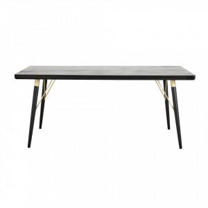 Masa dining din lemn negru 180x90 cm Elements Nordal