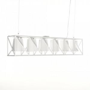 Lustra alba din metal cu 6 becuri Multilamp Line Seletti