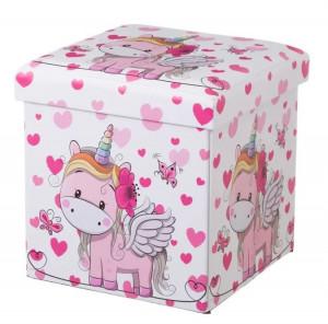 Taburet patrat roz pentru copii din MDF 38x38 cm Unicorn Ava Unimasa