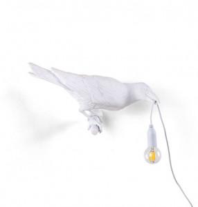 Aplica alba din rasina pentru exterior Bird Looking Right Seletti