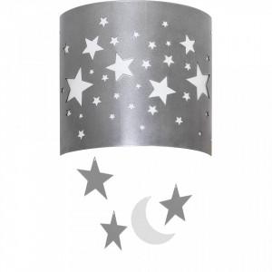 Aplica argintie din metal si plastic Stars Wall Silver Aldex