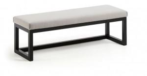 Bancheta gri/neagra din lemn si textil 128 cm Yola La Forma