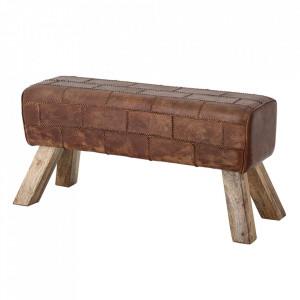 Bancheta maro din piele si lemn de mango 95 cm Feo Creative Collection