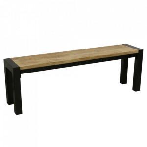 Bancheta maro/neagra din lemn de mango 140 cm Vintage Raw Materials
