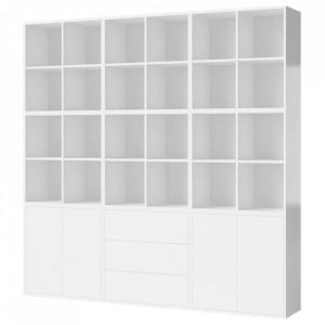 Biblioteca alba din MDF 210 cm Combination Square Bolia