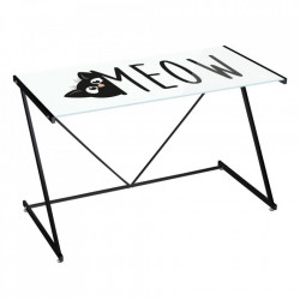 Birou alb/negru din sticla si metal 60x120 cm Meow Unimasa