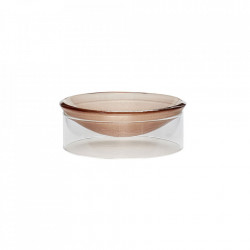 Bol decorativ maro/transparent din sticla 12 cm Mini Clear Bowl Hubsch