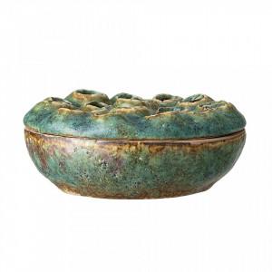 Bol decorativ verde din ceramica cu capac 18 cm Vasia Creative Collection