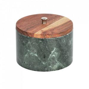 Borcan cu capac verde/maro din marmura si lemn de salcam 500 ml Karla Kave Home