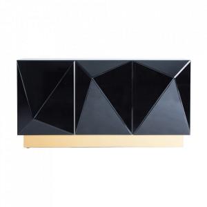 Bufet inferior auriu/negru din otel si oglinda 153 cm Ozd Vical Home