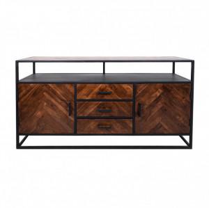 Bufet inferior maro/negru din lemn si fier 160 cm Saint-Maxime HSM Collection