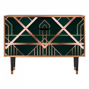 Bufet inferior multicolor din MDF si lemn 115 cm  Emerald Gatsby Furny
