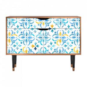Bufet inferior multicolor din MDF si lemn 115 cm  Lisbon Flover Furny
