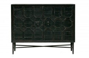 Bufet inferior negru din lemn cu 2 usi Bequest Be Pure Home