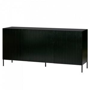 Bufet inferior negru din lemn de pin 180 cm Gravure Woood
