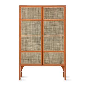 Bufet portocaliu din lemn si ratan 200 cm Ahmet HK Living