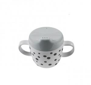 Cana gri cu capac pentru bebelusi din melamina 170 ml Dots Grey Black Done by Deer