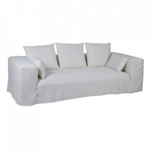 Canapea alba din in si lemn 245 cm Lostock Denzzo