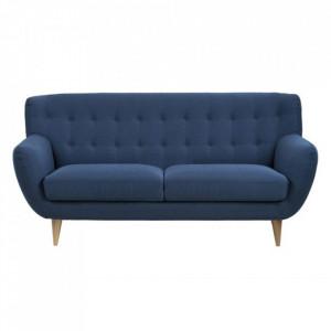 Canapea albastru inchis/maro din lemn si textil pentru 3 persoane Oswald Actona Company