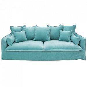 Canapea albastru marin din catifea si lemn 210 cm Heaven Invicta Interior