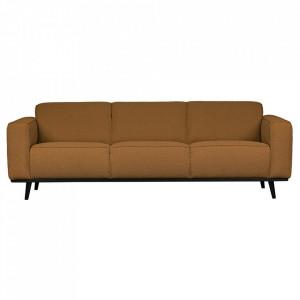 Canapea bej unt/neagra din poliester si lemn pentru 3 persoane Statement Boucle Be Pure Home