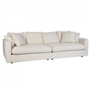 Canapea crem din textil si lemn pentru 3 persoane Sense Zuiver