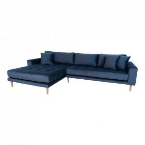 Canapea cu colt albastru inchis din catifea 290 cm Lido Left House Nordic