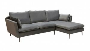 Canapea cu colt gri din metal si catifea 260 cm Famous Invicta Interior