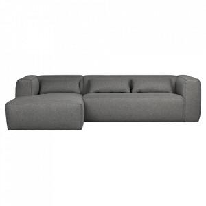 Canapea cu colt gri din poliester si bumbac 305 cm Bean Left Woood