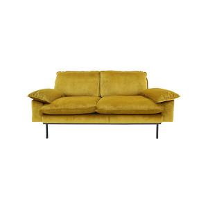Canapea din catifea galbena pentru 2 persoane Ochre HK Living