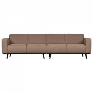 Canapea din poliester si lemn pentru 4 persoane Statement Boucle Nougat Be Pure Home