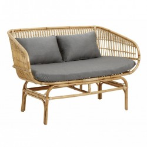 Canapea din ratan cu perna gri Pads Nordal
