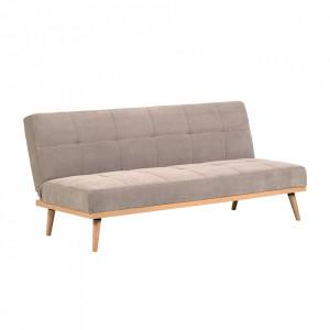 Canapea extensibila bej din poliester si lemn de pin 180 cm Nirit La Forma