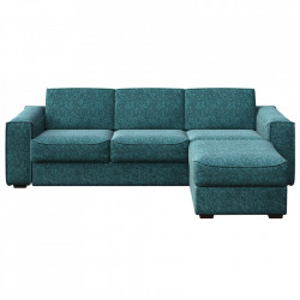 Canapea extensibila cu colt albastra din poliester si lemn pentru 4 persoane Munro Big Mesonica