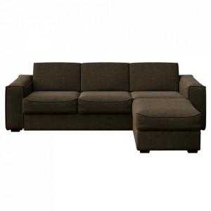 Canapea extensibila cu colt maro din poliester si lemn pentru 4 persoane Munro Big Mesonica