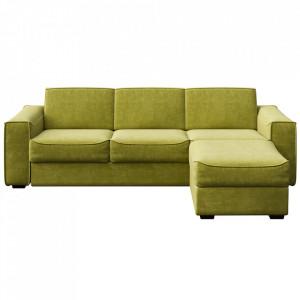 Canapea extensibila cu colt oliv din poliester si lemn pentru 4 persoane Munro Big Mesonica