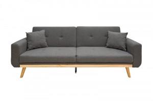 Canapea extensibila gri antracit/maro din poliester si metal pentru 3 persoane Skagen Invicta Interior