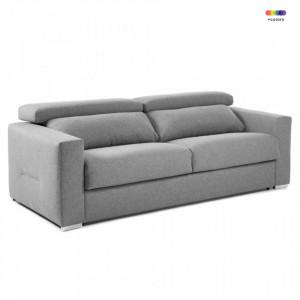 Canapea extensibila gri deschis din textil si metal 204 cm Queen Poli La Forma