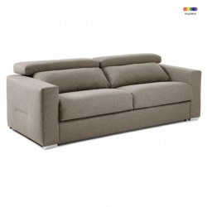 Canapea extensibila maro din textil si metal 224 cm Queen Visco La Forma